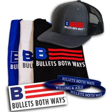 Bullets Both Ways Bundle - Hat, Shirt, Wristband, Sticker