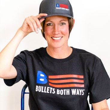 Bullets Both Ways charcoal trucker hat