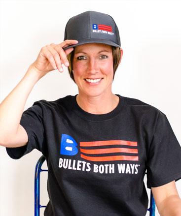 Bullets Both Ways charcoal trucker hat