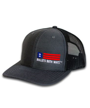 9970777a1a5 Bullets Both Ways Trucker Hat Black