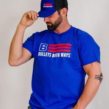 Bullets Both Ways Flag logo Tshirt blue Men