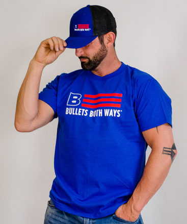 Bullets Both Ways Flag logo Tshirt blue Men