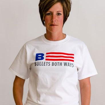 Bullets Both Ways Flag logo Tshirt white womens