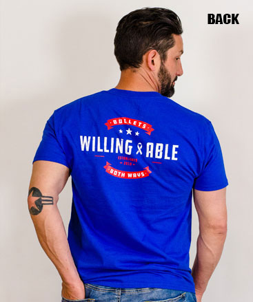 Bullets Both Ways Willing And Able T-Shirt Blue