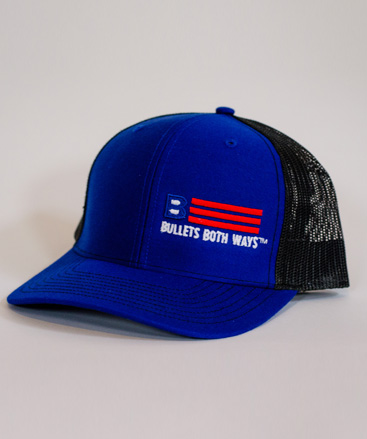 e34bfde3439f8 Bullets Both Ways Trucker Hat Royal