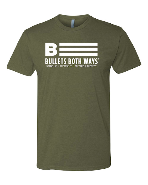 c23bdb46 Flag w/tagline T-Shirt | Bullets Both Ways | Colorado | USA