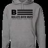 Bullets Both Ways Gray & Black hooded sweatshirt