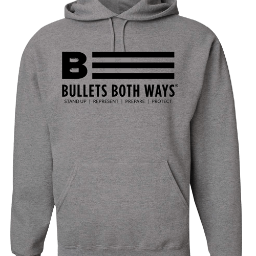 Bullets Both Ways Gray & Black hooded sweatshirt
